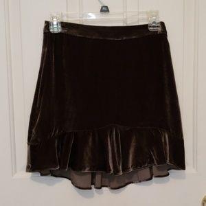 Madewell Velvet Gray Ruffled Skirt